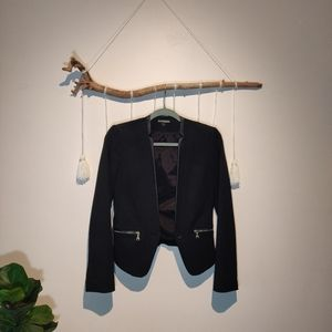 Express Sleek Black Blazer w/ Faux Leather Detail